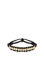 Theodora Warre Topaz Gold Plated And Cotton Bracelet Black
