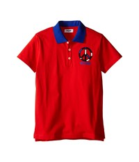 Moschino Kids Short Sleeve Polo W Peace Sign Graphic Big Kids Red Men's Short Sleeve Pullover