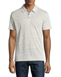Vince Linen Contrast Trim Polo Shirt Heather Steel