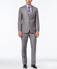 Kenneth Cole Reaction Men's Slim Fit Medium Gray Textured Suit Medium Grey