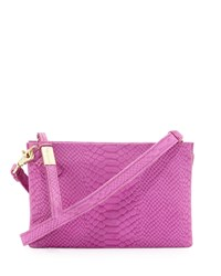 Foley Corinna Cache Day Snake Embossed Leather Crossbody Bag Fuchsia