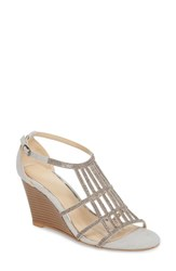 Athena Alexander Hampton Crystal Embellished Wedge Sandal Grey Suede