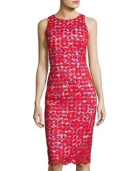 Maggy London Lace Overlay Gingham Sheath Dress Red Pattern
