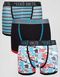Ecko Unlimited 3 Pack Printed Trunks Black
