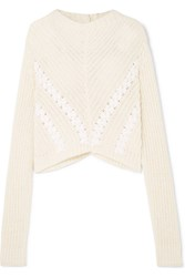 3.1 Phillip Lim Cropped Grosgrain Trimmed Ribbed Cotton Sweater White