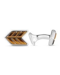 David Yurman Tiger's Eye And Sterling Silver Chevron Cuff Links Light Brown