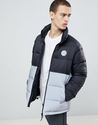 Dc Shoes Water Resistant Puffer Coat With Reflective Panel In Black