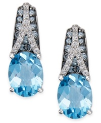 Macy's London Blue Topaz 5 1 2 Ct. T.W. And White Topaz 1 8 Ct. T.W. Drop Earrings In Sterling Silver