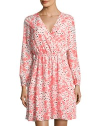 Cynthia Steffe Gemma Floral V Neck Dress Orange Pattern