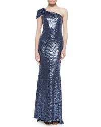 Badgley Mischka One Shoulder Sequin Gown Blue Gray Blue Grey