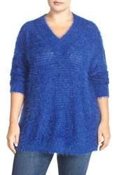 Plus Size Women's Sejour 'Happy' Eyelash Yarn V Neck Sweater Blue Mazarine