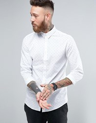 Selected Homme Long Sleeve Slim Shirt In Print White