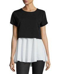Philosophy Short Sleeve Crewneck Popover Blouse Black White