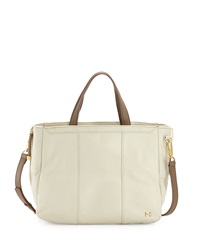 Halston Heritage Side Zip Colorblock Leather Tote Bag Bone Ash