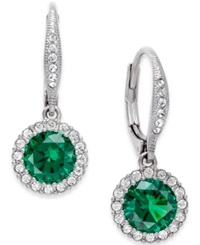 Eliot Danori Pave Stone Drop Earrings Silver Green