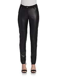 Saks Fifth Avenue Black Vegan Leather Paneled Pants Black