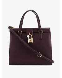 Dolce And Gabbana Leather Handbag With Padlock Purple White Black