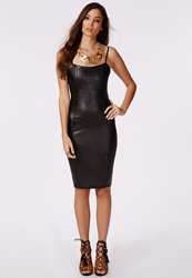Missguided Faux Leather Stretch Bodycon Dress Black