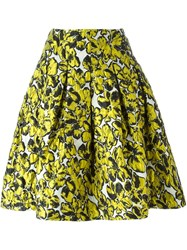 Oscar De La Renta Floral Print Skirt Yellow And Orange