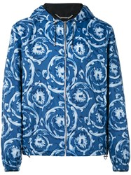 Versace Printed Hooded Jacket Men Cotton Polyester 52 Blue