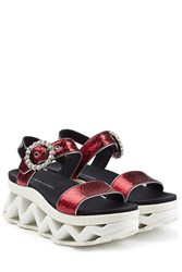 Marc By Marc Jacobs Embossed Leather Ninja Strass Wave Sandals Multicolor