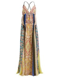 Etro Hanalei Bay Panelled Paisley Print Silk Maxi Dress Multi