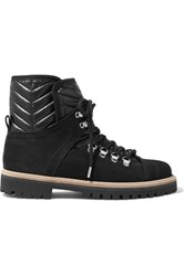 Ganni Edna Suede And Quilted Canvas Ankle Boots Black
