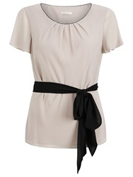 Jacques Vert Textured Belted Blouse Mid Neutral