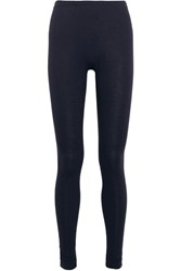 Hanro Silk And Cashmere Blend Jersey Leggings Storm Blue
