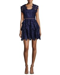 Self Portrait Clover Embroidered Mini Dress Navy