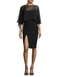Eliza J Bateau Neck Solid Cape Black