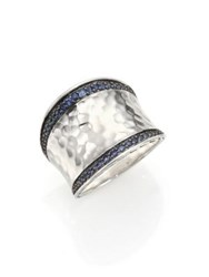 John Hardy Classic Chain Blue Sapphire And Sterling Silver Small Saddle Ring Silver Blue Sapphire