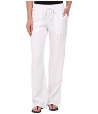 Mod O Doc Linen Rayon Straight Leg Roll Up Pant White Women's Casual Pants