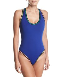 Lablanca Scoop Neck Threaded Cross Back One Piece Swimsuit Plus Blue