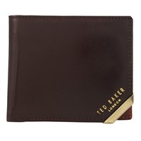 Ted Baker Newcor Metal Corner Bifold Leather Wallet Chocolate