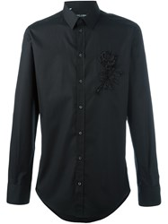 Dolce And Gabbana Embroidered Rose Applique Shirt Black