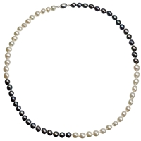 A B Davis Two Tone Quartered River Pearl Necklace White Black