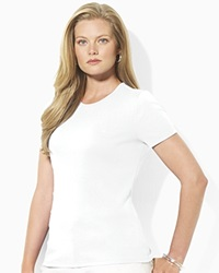 Lauren Ralph Lauren Plus Ribbed Crew Neck Tee White