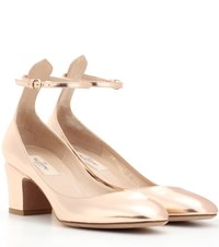Valentino Tan Go Leather Pumps Metallic