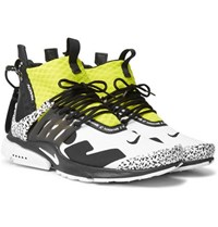 Nike Acronym Air Presto Mid Leather And Rubber Trimmed Mesh Sneakers White