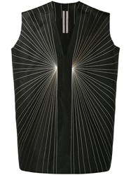 Rick Owens Embroidered Vest Top Men Silk Acrylic Polyester Wool S Black