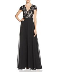 Aidan Mattox Lace And Chiffon Gown 100 Bloomingdale's Exclusive Black Nude