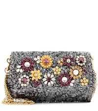 Dolce And Gabbana Anna Embellished Shoulder Bag Silver