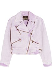 Roberto Cavalli Acid Wash Denim Biker Jacket Violet