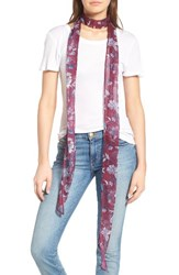 Hinge Women's Floral Skinny Scarf Burgundy Combo