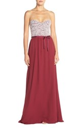 Women's Paper Crown By Lauren Conrad 'Hannah' Lace Bodice Crepe Gown Spiced Wine