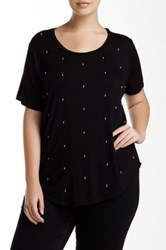 Dex Beaded Short Sleeve Tee Plus Size Black