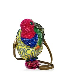 Jamin Puech Toucan Embroidered Crossbody Multicolor Gold