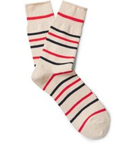 Anonymous Ism Striped Recycled Cotton Blend Socks Cream