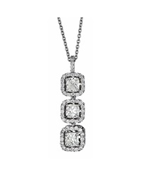 Neiman Marcus Diamonds Three Stone Cushion Diamond Pendant Necklace 1.6Tcw